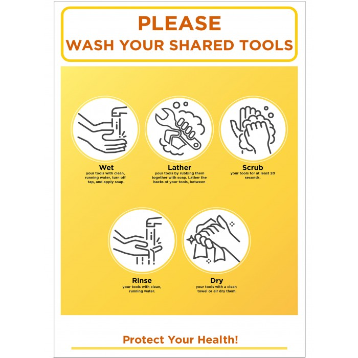 Covid 19 Posters - PLEASEWASH YOUR SHARED TOOLS