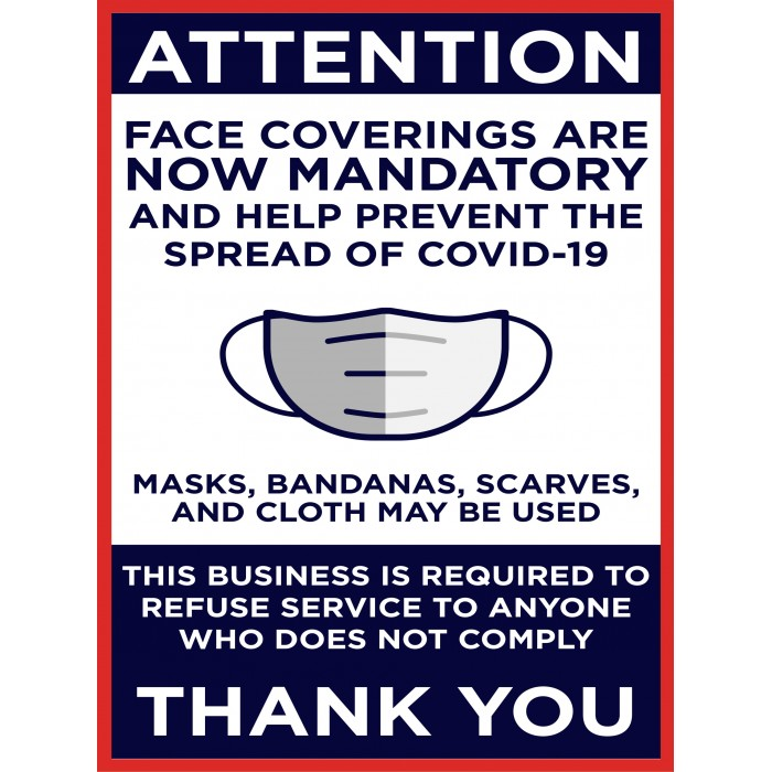 Covid 19 Posters - FACE COVERINGS ARE NOW MANDATORY