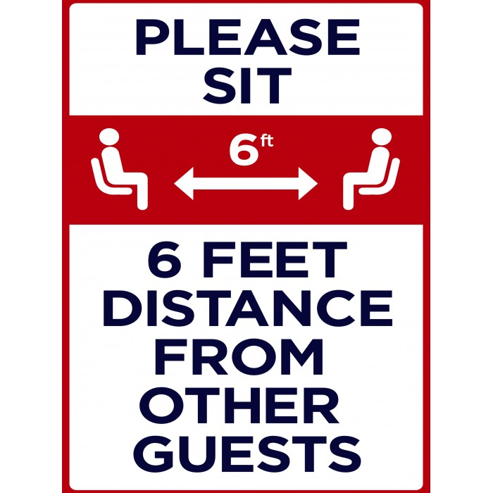 Covid 19 Posters - Please Sit 6 Ft. Distance